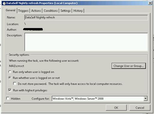 scheduling a dataself refresh task using task scheduler