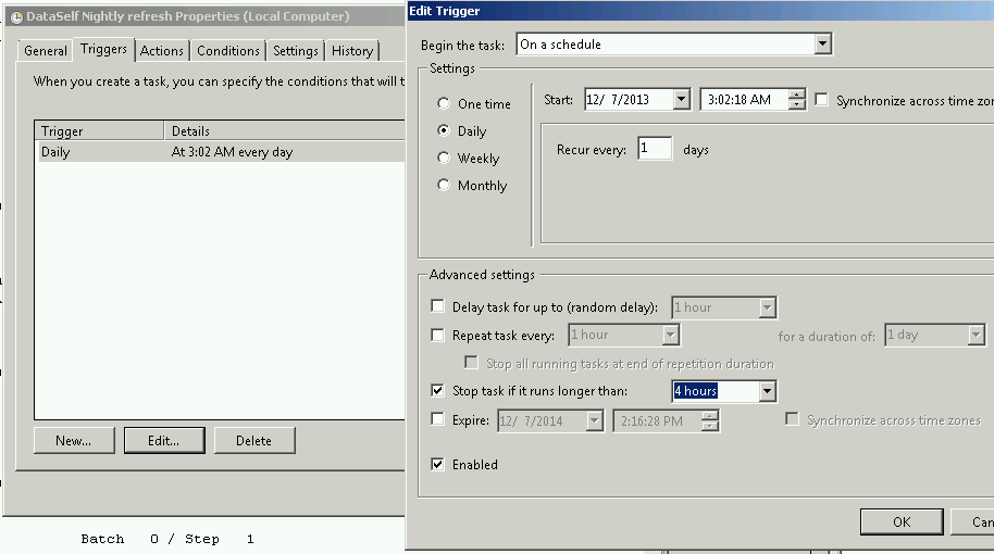 creating a refresh task in task scheduler step 2