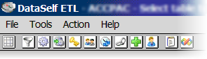 Icon toolbar as seen on the upper left corner of the main ETL window.