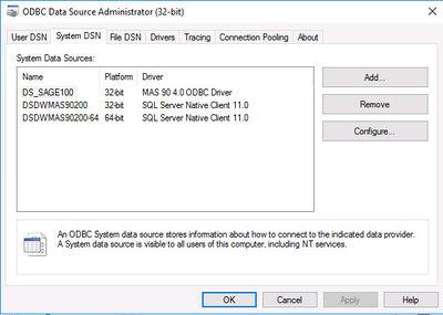 ODBC Data Source Administrator - DataSelf Knowledge Base